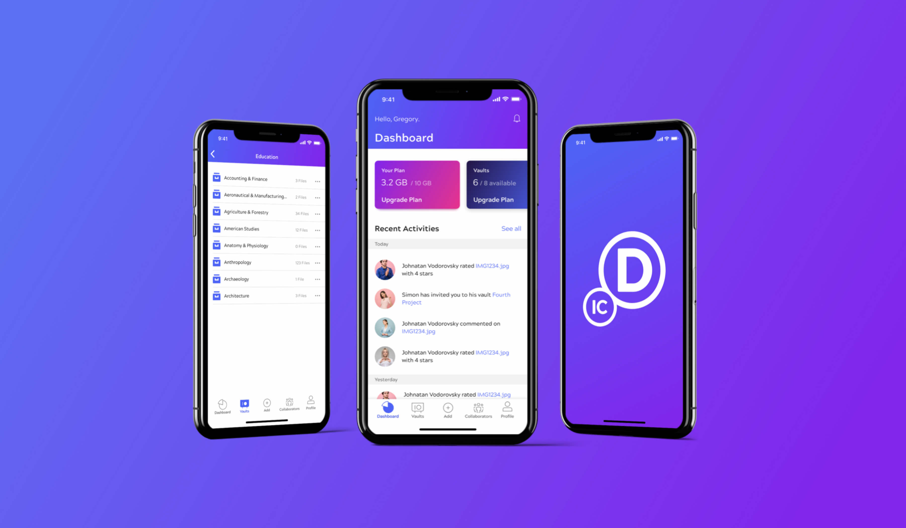 Initial concept and UX design of the mobile app and web app for secure file sharing. It's dedicated for accounting, law and architecture companies