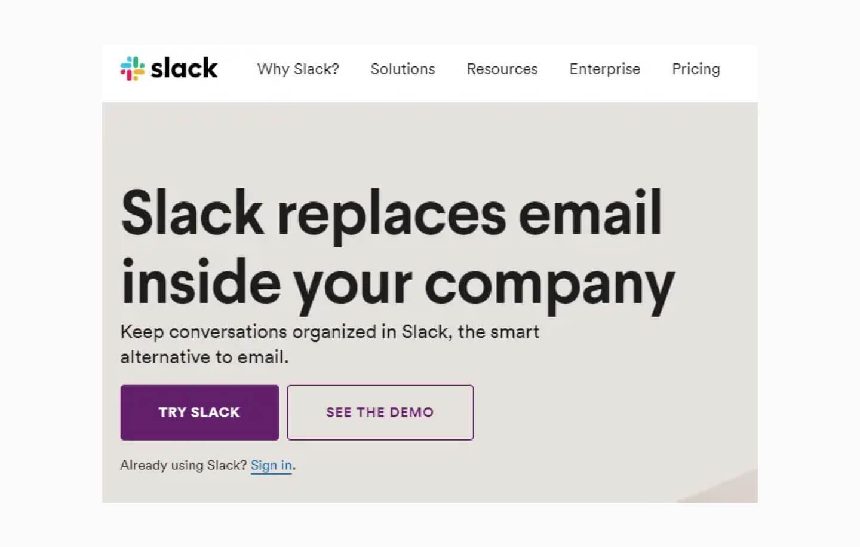 Slack - przykład UX writing