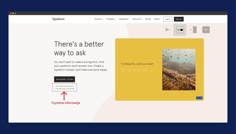 przykłąd wykorzystania UX writing przez Typeform na swojej stronie głównej