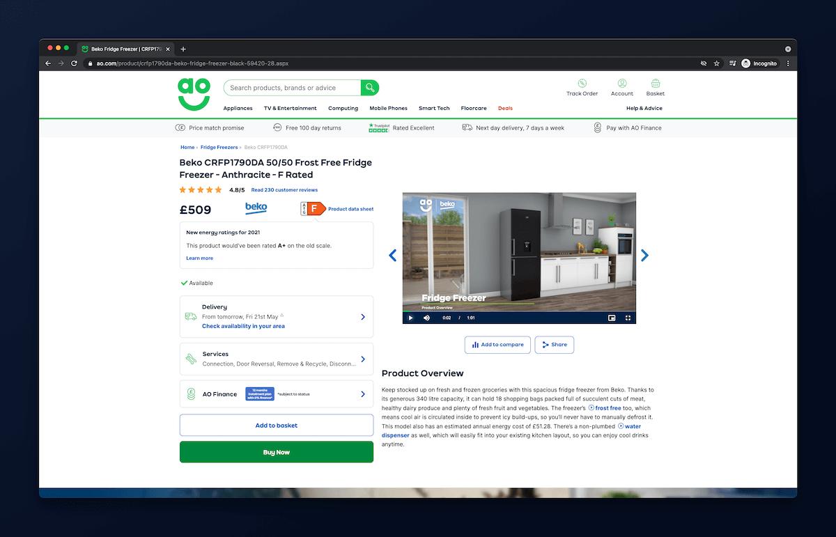 Screenshot strony ao.com przedstawiajÄ…cy video na stronie