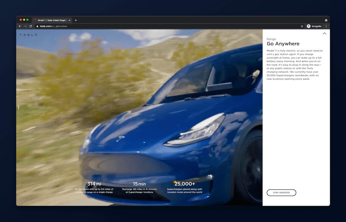 screenshot ze strony tesla.com przedstawiajÄ…cy video na stronie