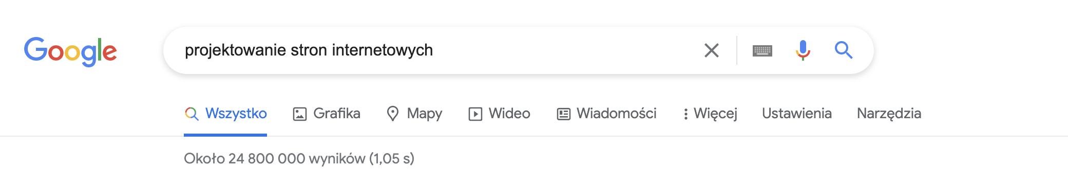 """screenshot z wynikiem wyszukiwania w Google """"projektowanie stron interentowych"""""""