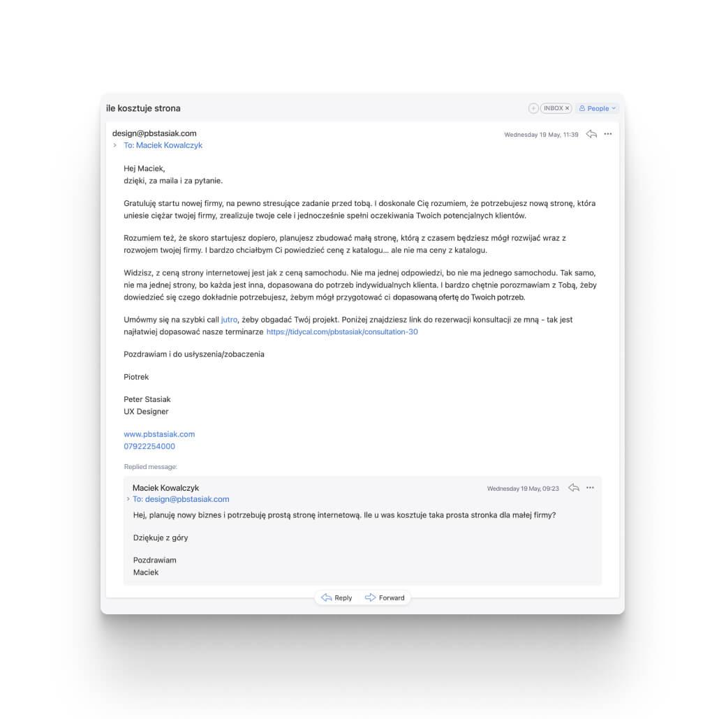 screenshot przedstawiający email od projektanta z odpowiedzią na pytanie o cenę strony internetowej