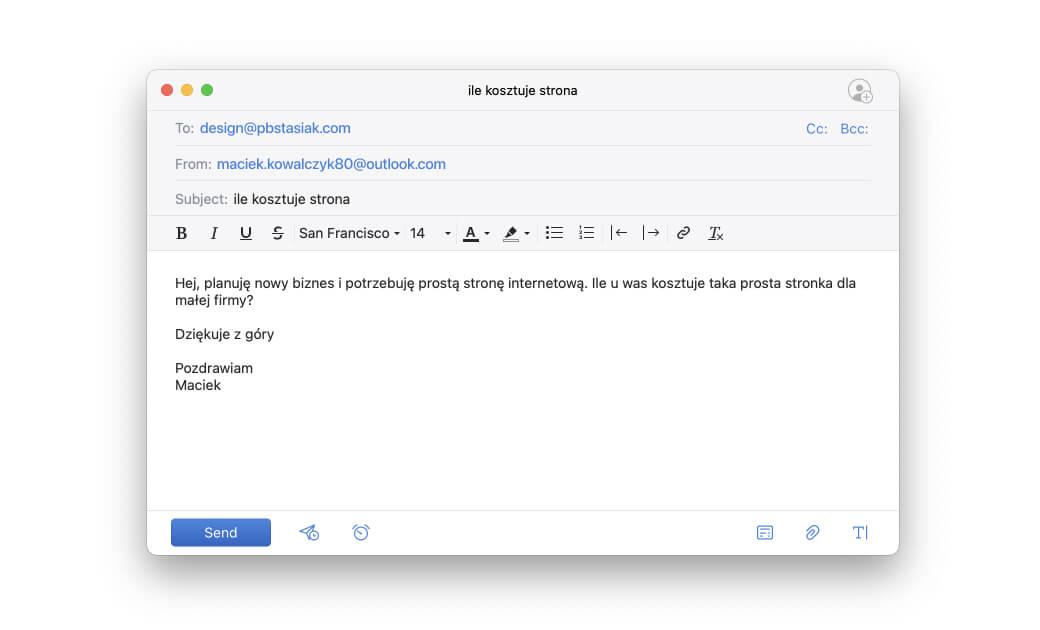 Sreenshot przedstawiający email do projektanta z pytaniem o koszt strony internetowej