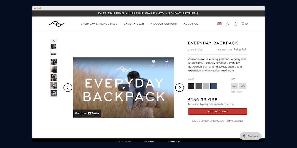 Screenshot ze strony Peak Design prezentujący film demonstracyjny na stronie