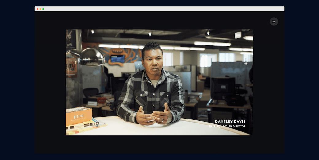 Screenshot prezentujący video  referencjami na stronie Invision
