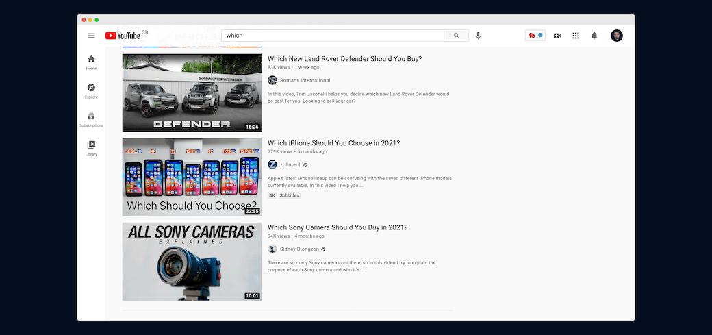 Screenshot prezentujący video porównawcze na YouTube