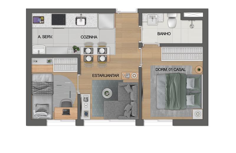 Planta 1 dorm de 33m2 - Living ampliado