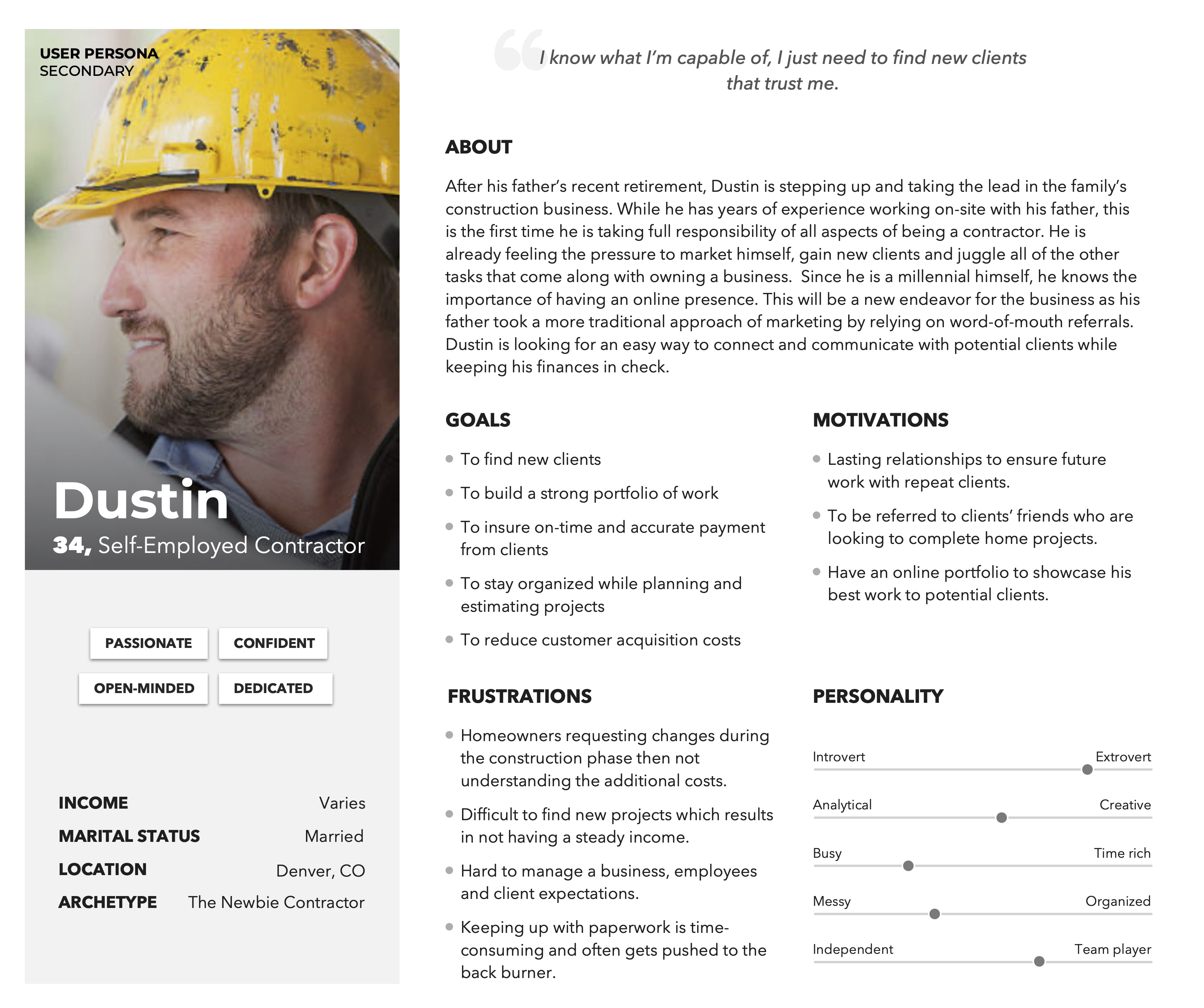 Secondary persona: new construction business owner looking to grow his client base