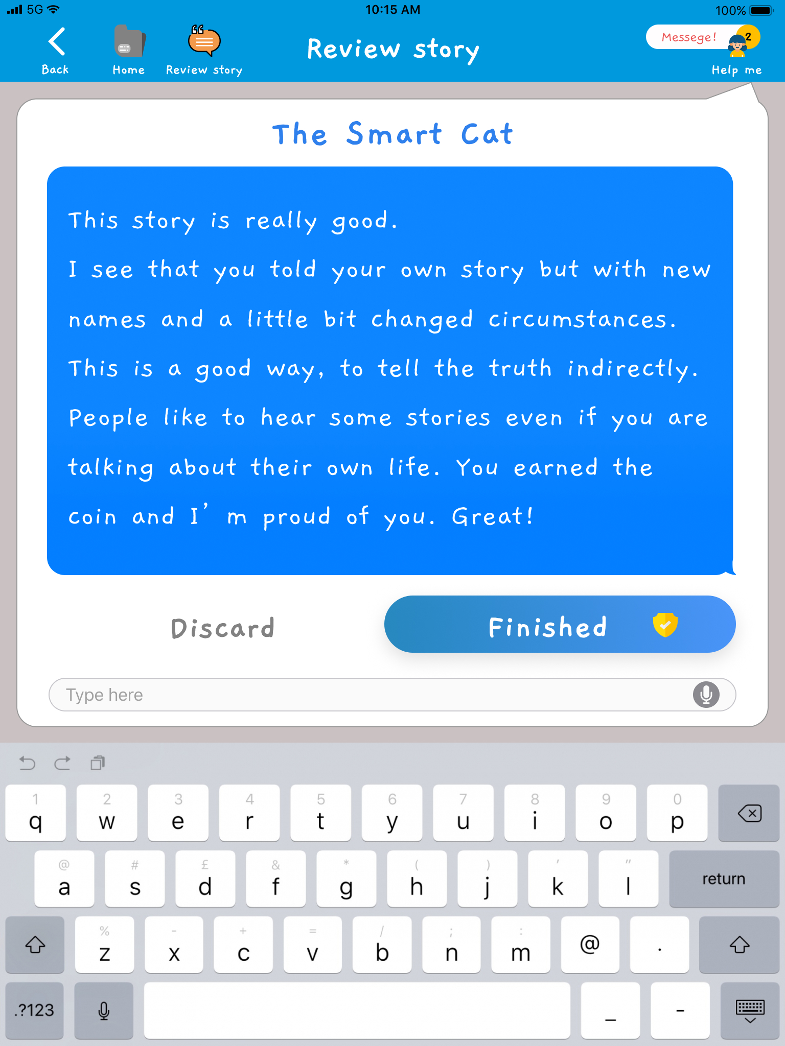 Existing story review screen with blue section filled with text