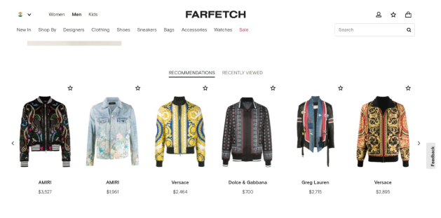 Farfetch Recommendations based on customers behaviour