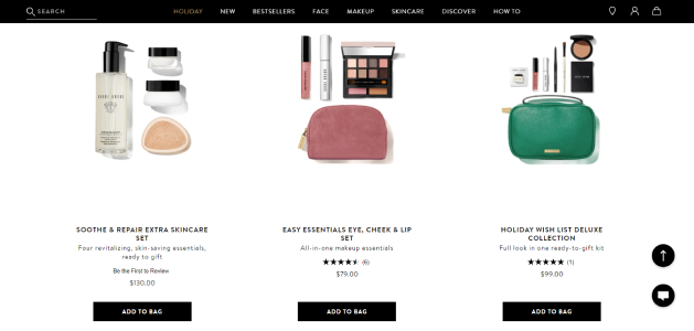 Bobbi brown, a cosmetic brand lures customers with their palette and lipstick sets via product kitting