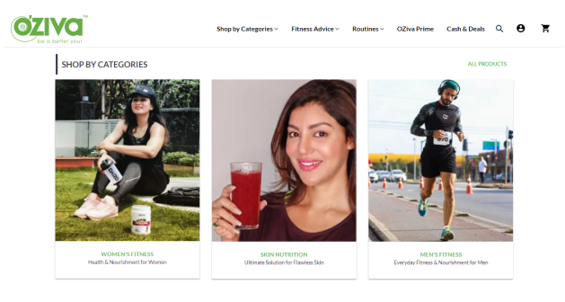 OZiva offers a curated collection of products that target specific needs through product kitting