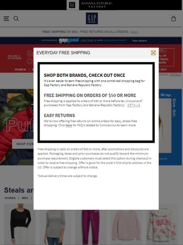 Gap shipping incentives