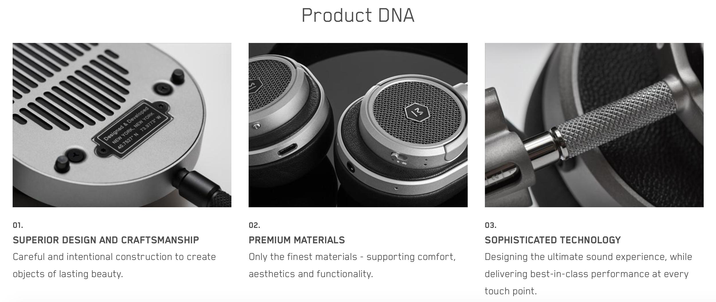 Master & Dynamic Product Descriptions