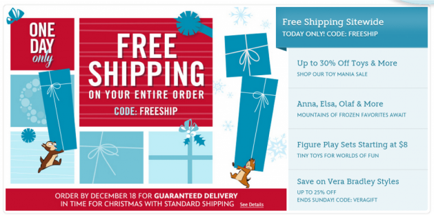 Disney offers free shipping specifically on Christmas