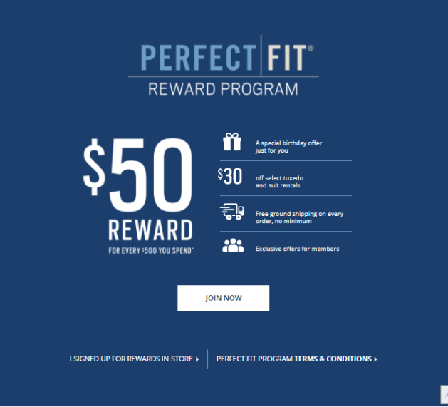 Men's Wearhouse provides free shipping as a loyalty program benefit