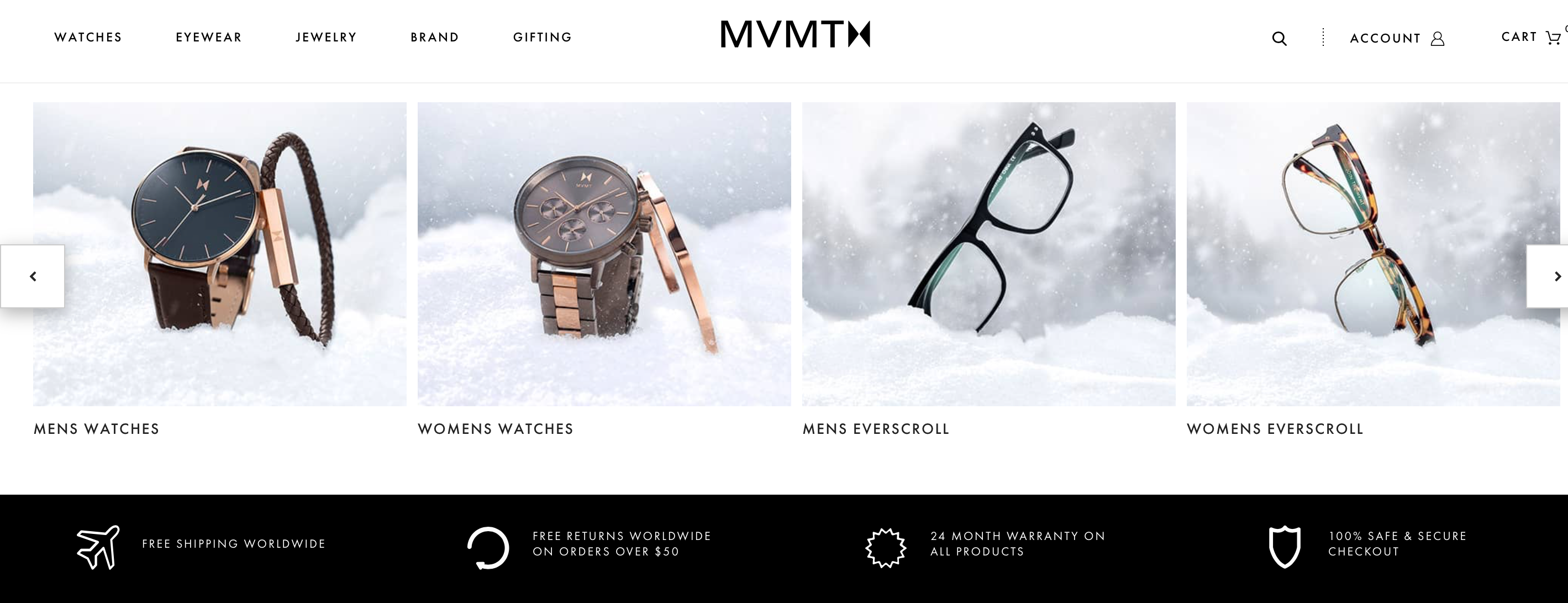MVMT offers free shipping on returns to its customers