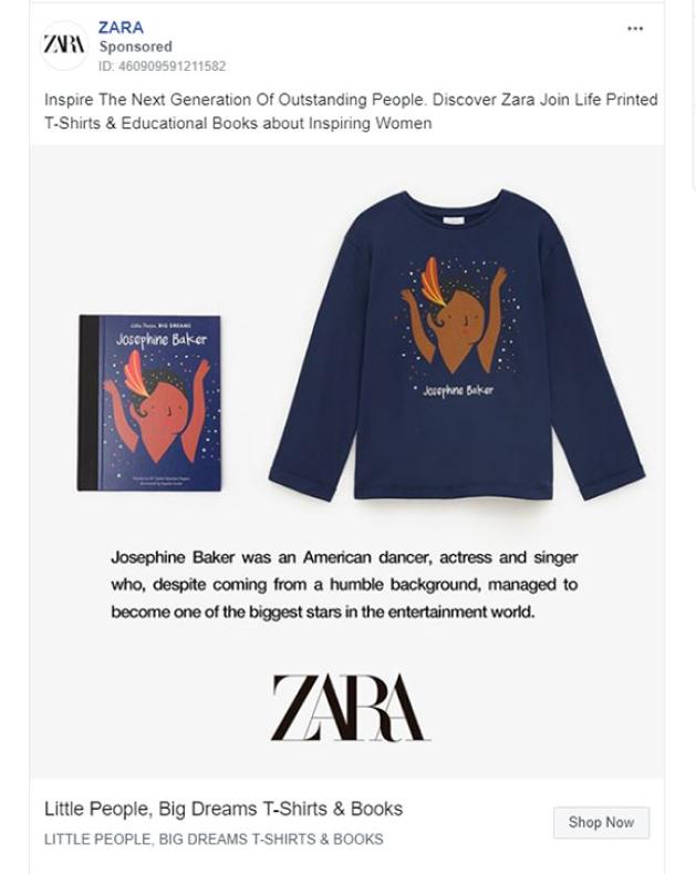 Zara Facebook ads
