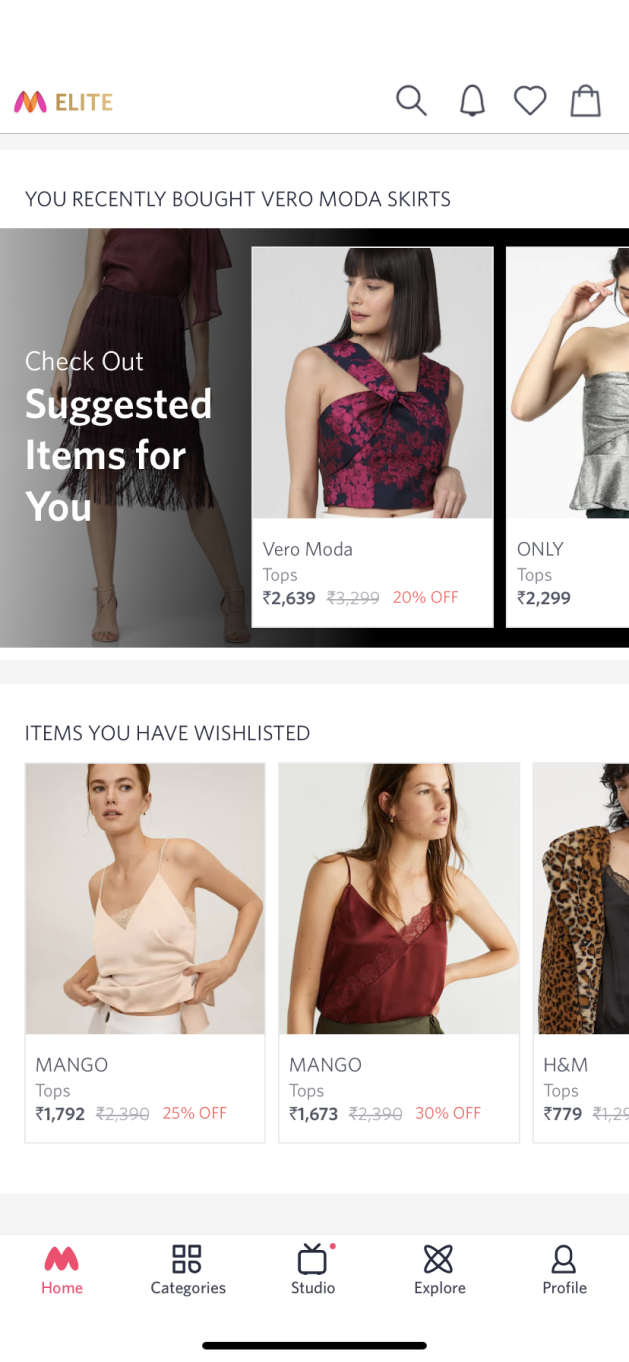 Myntra's product suggestions