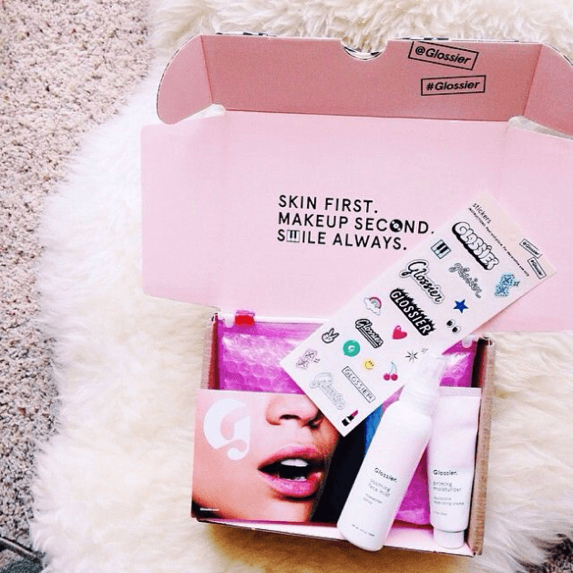Glossier's unboxing experience enabled by product kitting encompasses every aspect of its values