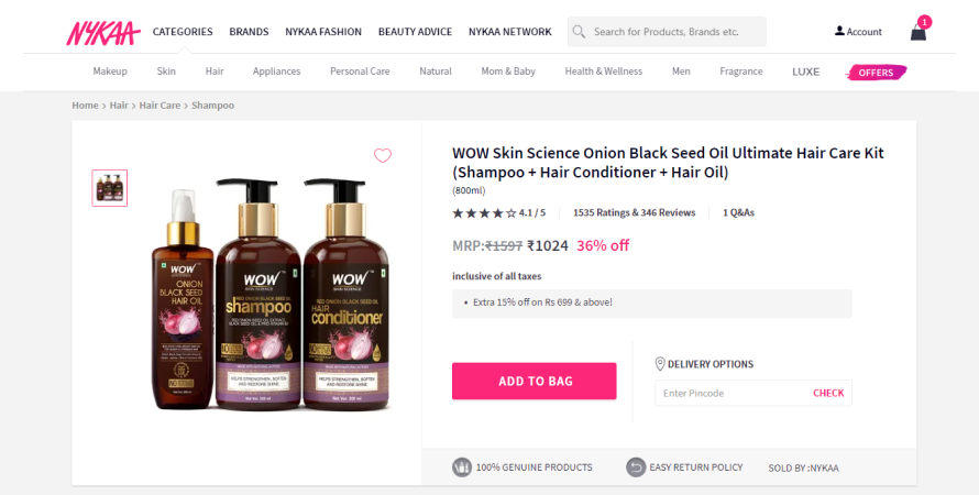 personal care kits on Nykaa