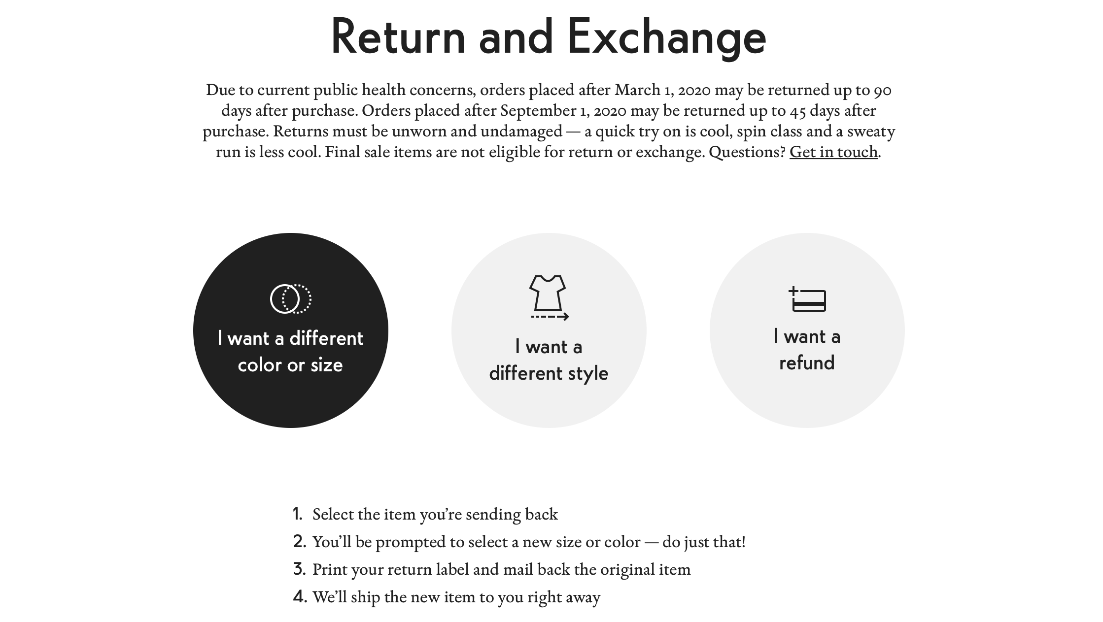 Outdoor voices' easy Return & Exchange process
