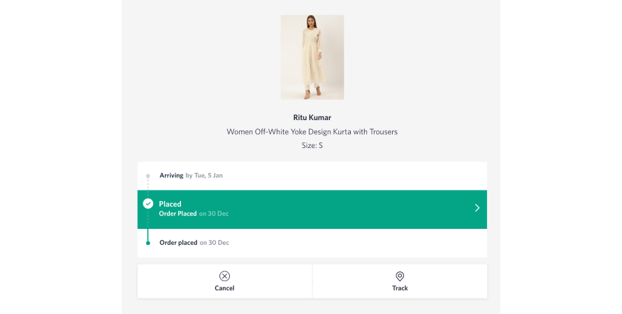 Myntra's easy real-time order tracking