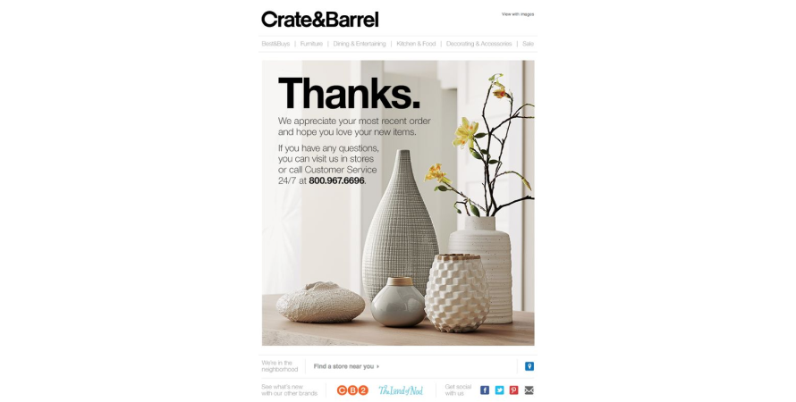 Crate & Barrel's thank you note