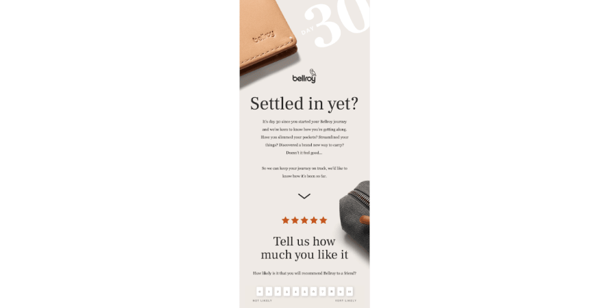 Bellroy asking for product feedback
