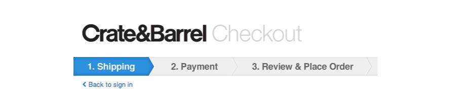 Crate & Barrel's checkout progress bar
