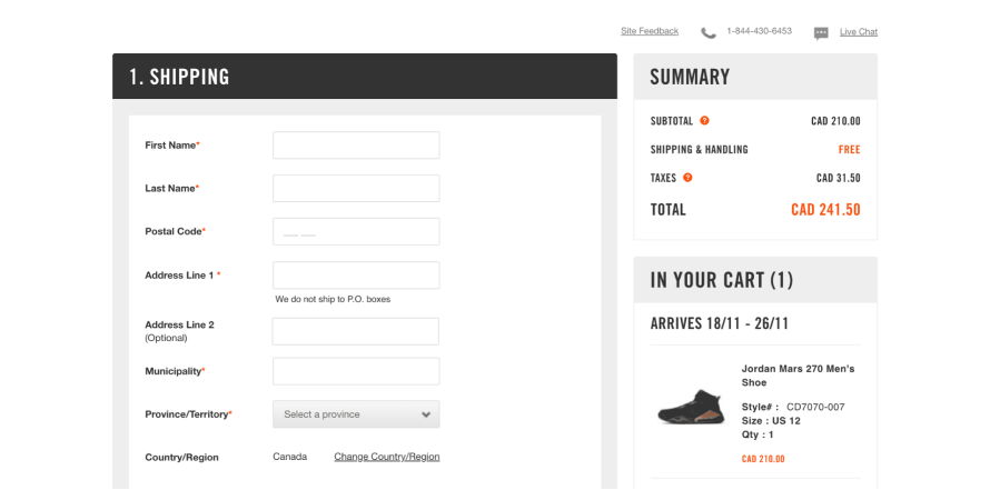 Nike provides support via toll free number and live chat