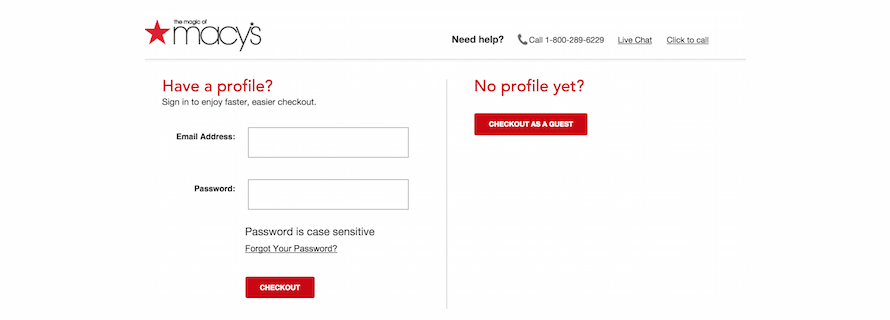 Macy's gives a guest option to its customers for a quick checkout process