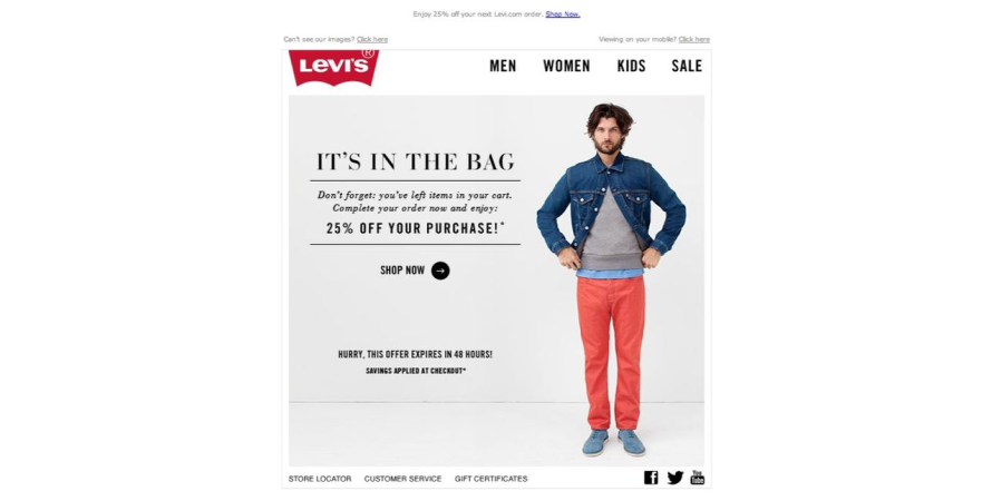 Levi's sends out incentives to customers to reduce cart abandonment