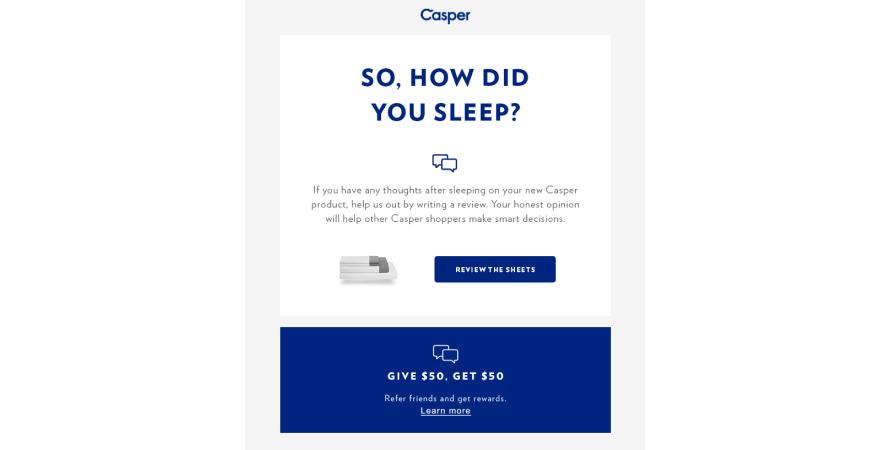 Casper post purchase emails
