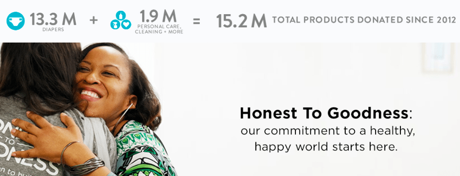 The honest company donates its products to create a happy world