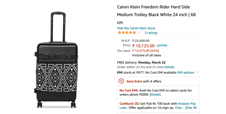 Calvin Klein's elaborative product title denotes the product specifications