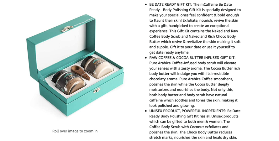 mCaffeine boasts its kit's ideology and anticipated experience in the product description