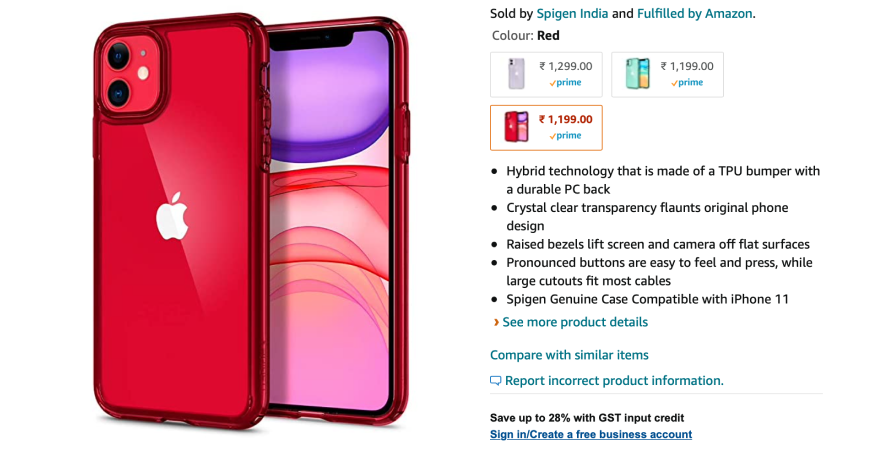 Spigen strategically includes multiple keywords on its product page