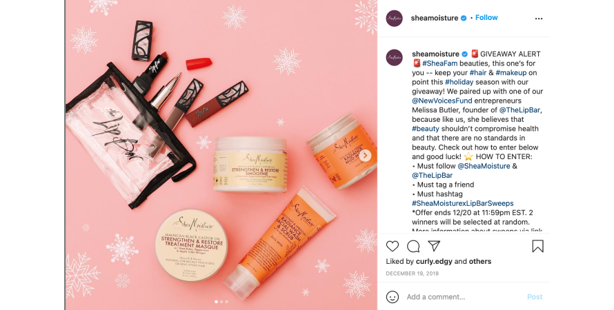 SheaMoisture hosting a giveaway on its Instagram handle