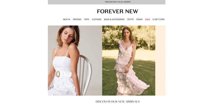 Forever New offers free shipping on all orders