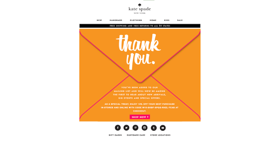 Kate Spade sends out personalised messages to customers