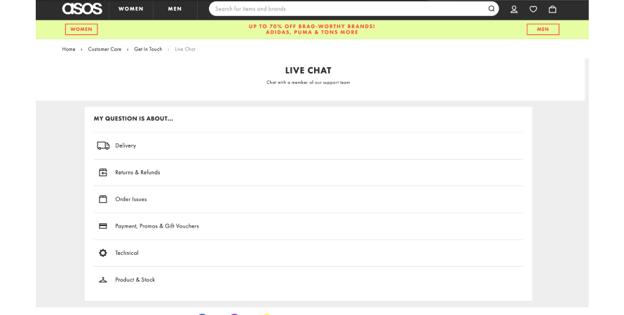 Asos provides a live chat option to resolve customer queries