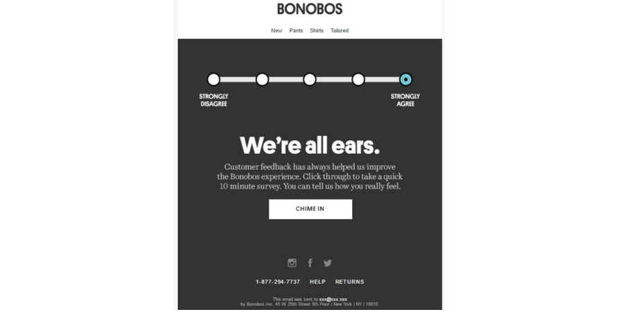 Bonobos sends minimalistic surveys to customers for getting insights