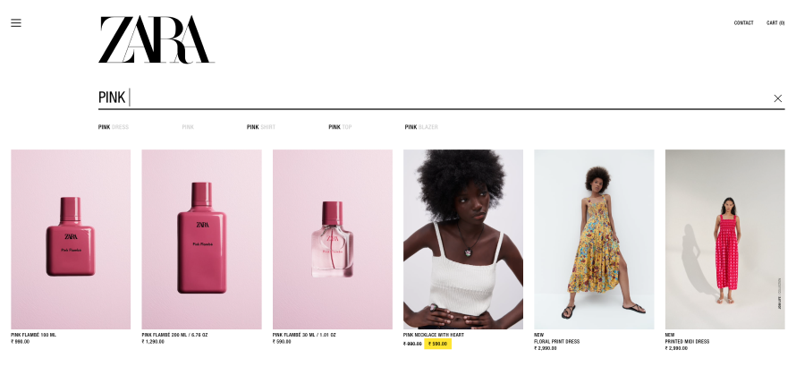Zara offers logical search filters