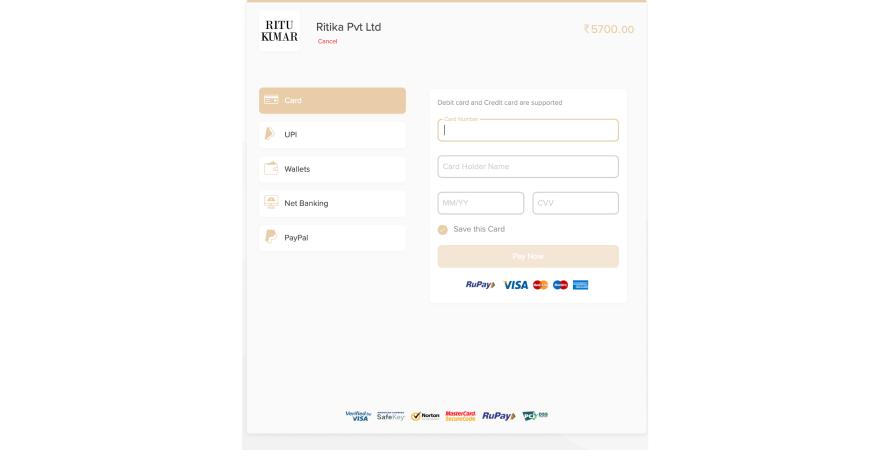 Ritu Kumar offers multiple payment options