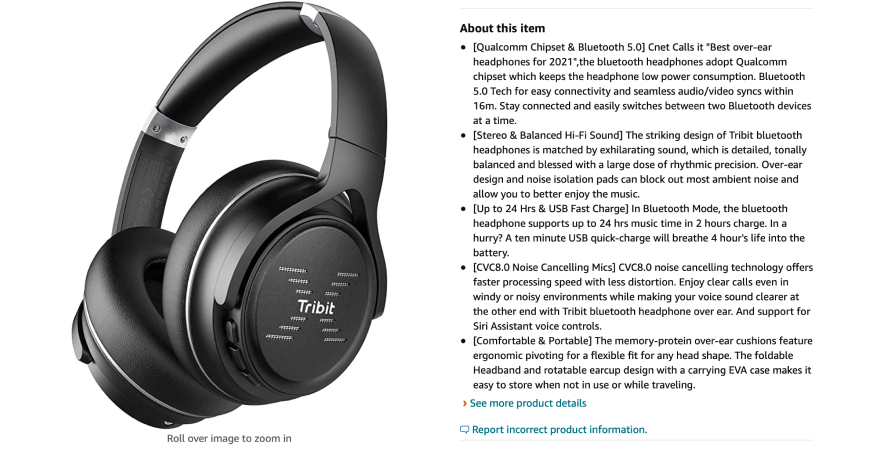 Tribit curates highly informative product descriptions on its Amazon listing