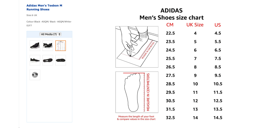 Adidas provides a comprehensive size chart on its Amazon listing