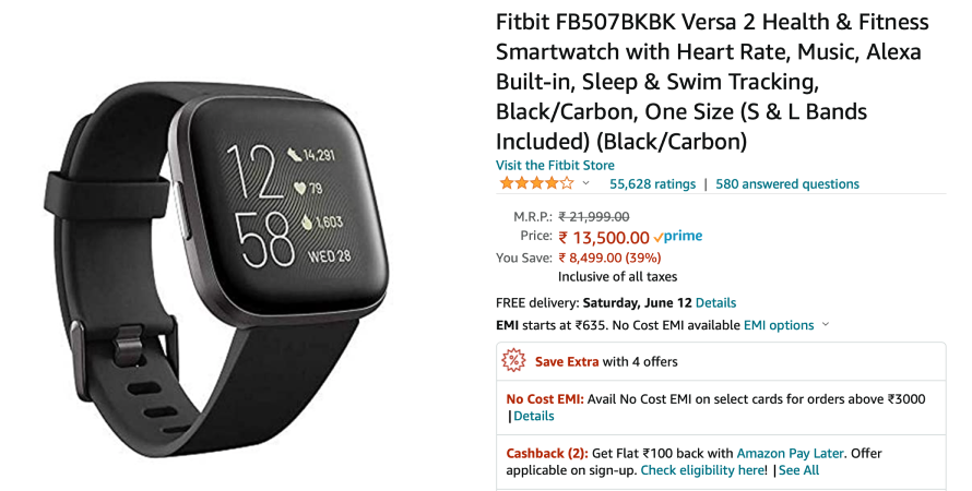 Fitbit smartwatch with a prime badge
