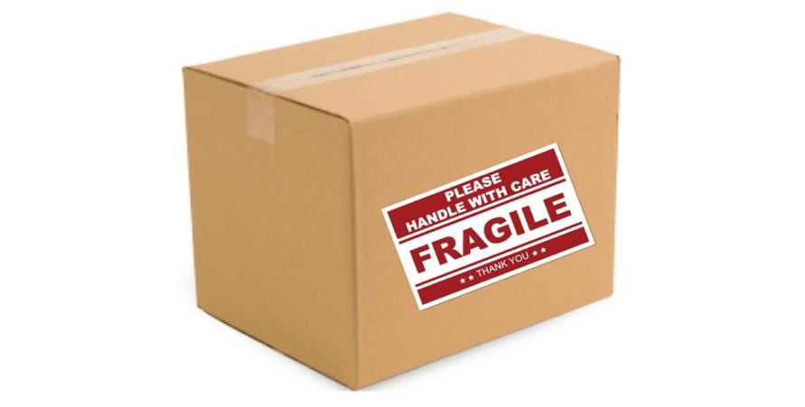 Fragile label used to relay important information